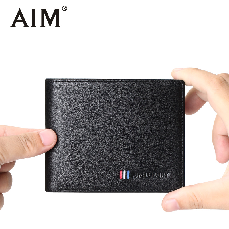 AIM Genuine Leather Men Wallets Fashion short wallet for men Black Purses Male Gift Credit Card Holder Slim Wallet Q215 aim mens small wallet 100% genuine leather men purse male compact slim short wallets for men cowhide card holder carteira a292