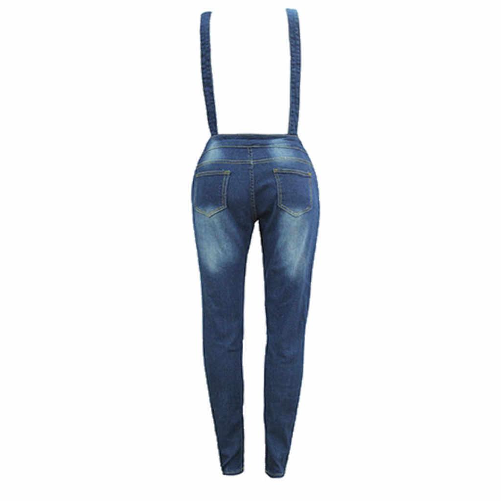 3 W # Vrouwen Met Gaten In Hun Bandjes Eenvoudig Strakke Kalf Jeans Rompertjes Vrouwen Denim Jumpsuit Vrouwen Zomer overalls