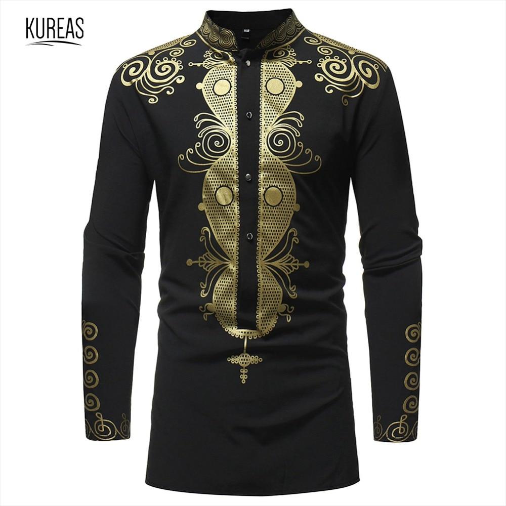 Kureas Men's African Print Shirts Dashiki Top Blouse Long Sleeve T Shirt Soft Tops Fashion Casual Loose Africa Clothes
