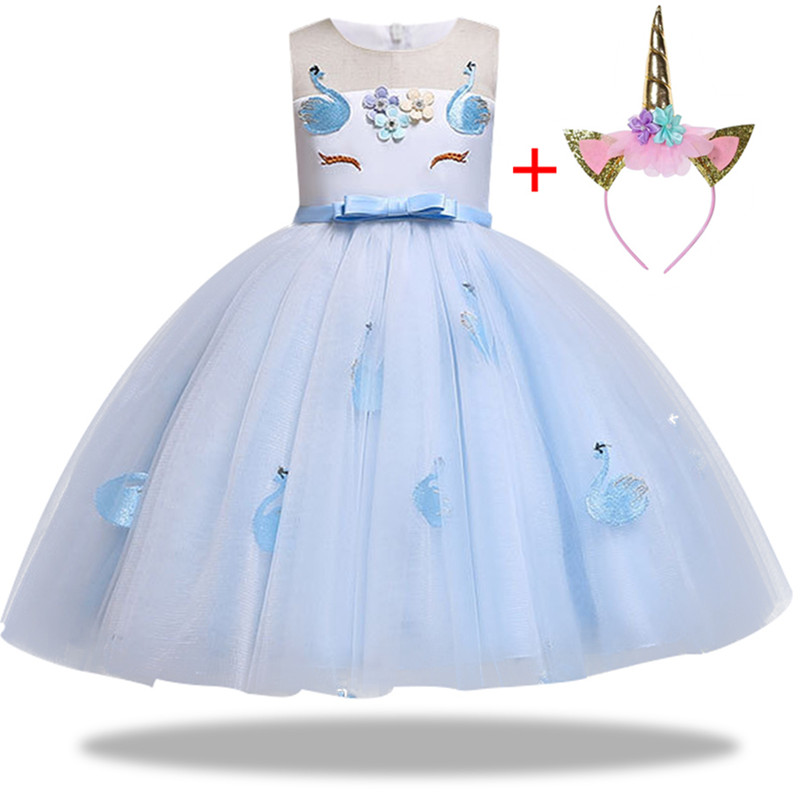 HTB1FiEIaEzrK1RjSspmq6AOdFXa8 New Unicorn Dress for Girls Embroidery Ball Gown Baby Girl Princess Birthday Dresses for Party Costumes Children Clothing