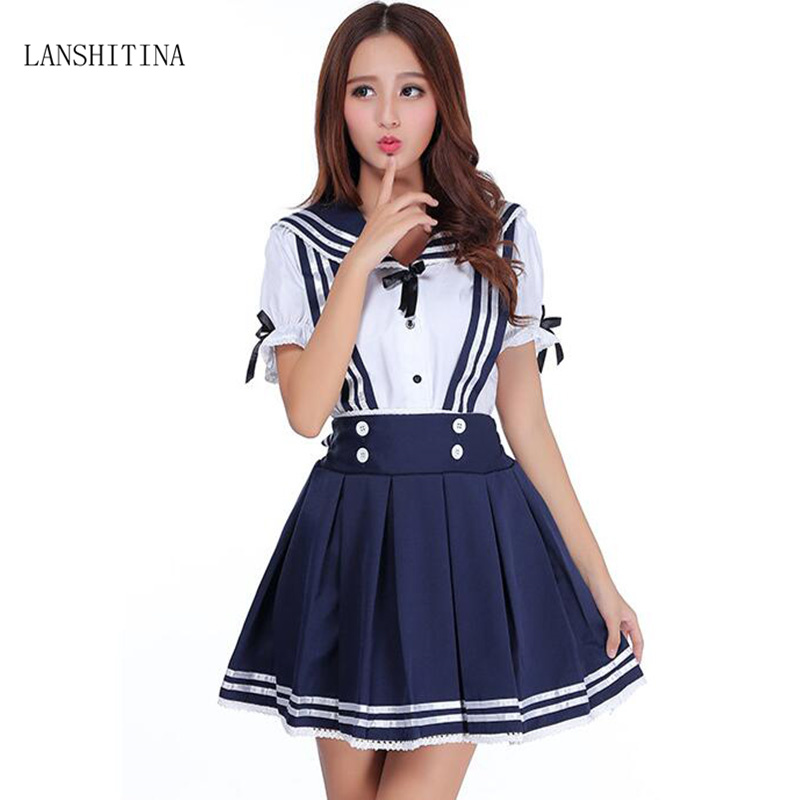 LANSHITINA Summer Japanese Uniforms Navy Sailor Costume For Women Students Short Sleeve Costume School Uniform For Girls