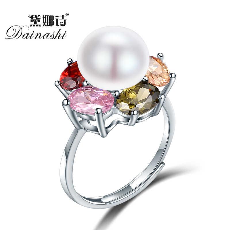 Dainashi تصميم جميل 925 فضة النمساوية كريستال خاتم كلاسيكي الأزياء والمجوهرات خواتم حزب هدية للمرأة اللؤلؤ