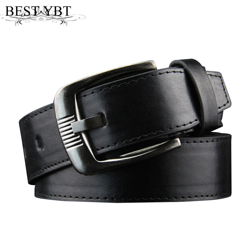 Best YBT Men Imitation Leather Belt Metal Pin Buckle Belt Step On The Line Flat Casual Fashion Cowboy Pants Men Business Belt