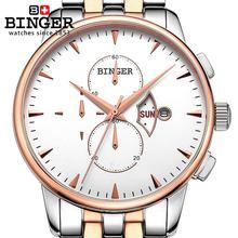Switzerland men's watch luxury brand Wristwatches BINGER 18K gold Quartz watch full stainless steel Chronograph BG-0404-3