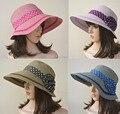 A213 Packable Women Bucket Cap Visor  Beach Straw   girls sun hats