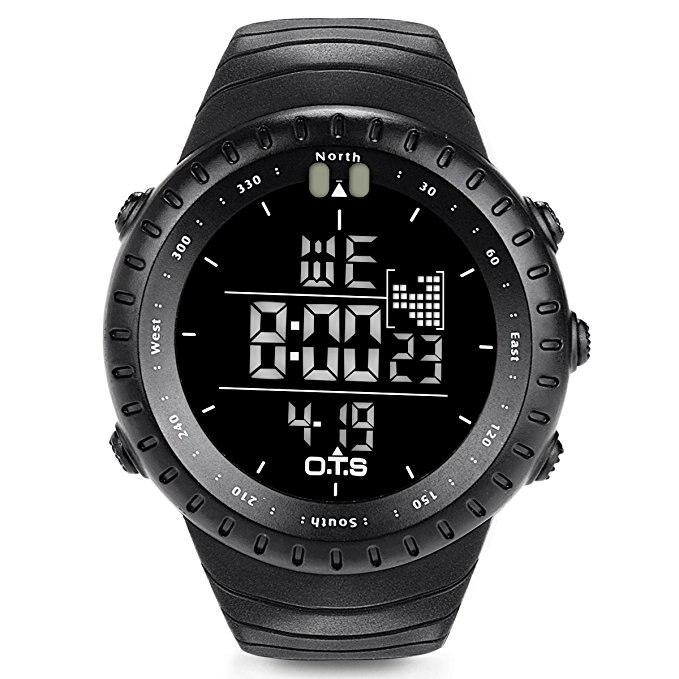 OTS Fishing Watch Rubber Diving Led Digital Sport Clock Men Electronic Army Military Black Sports Shockproof Waterproof Watch