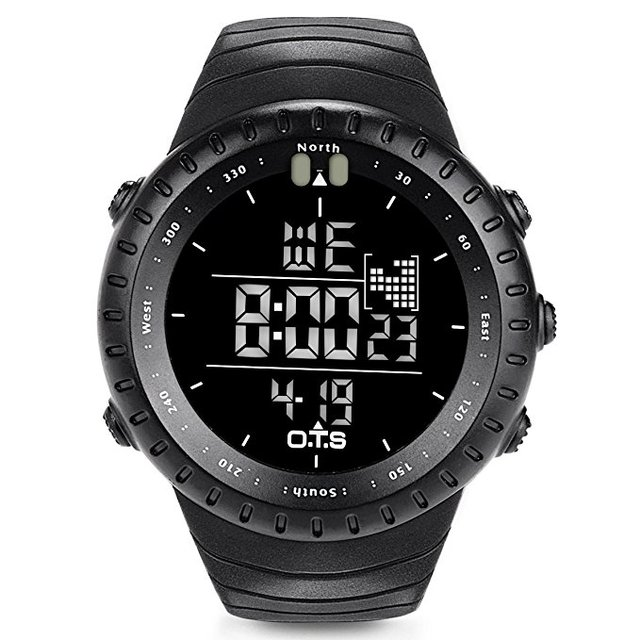 OTS Fishing Watch Rubber Diving Led Digital Sport Clock Men Electronic Army Military Black Sports Shockproof Waterproof Watch