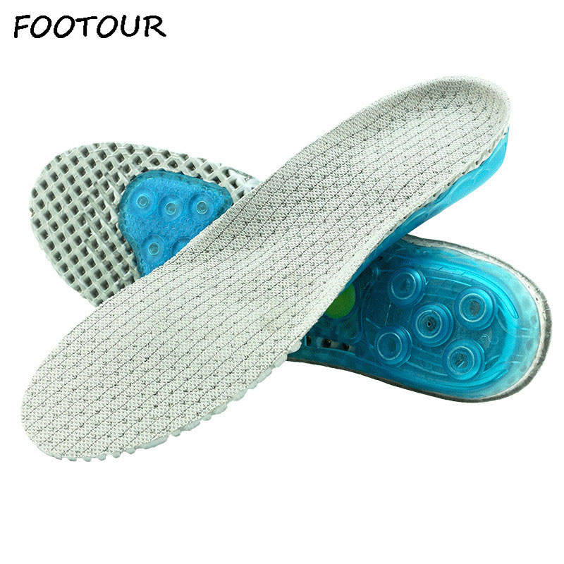FOOTOUR Silicone Gel Orthopedic Insoles Shock Absorbant Pads Foot Care For Plantar Fasciitis Pain Relieve Running Sport Insoles