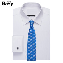 Davy Brand Custom New Plus size Dress Shirts Made by hand by tailor Men Long Sleeve Fashion Casual Cotton shirts high quality