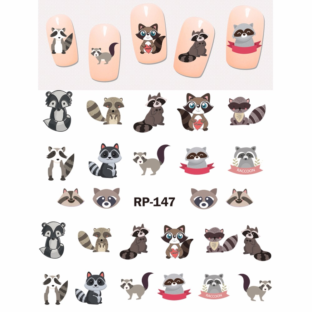 Image 5 - UPRETTEGO NAIL ART BEAUTY NAIL STICKER WATER DECAL SLIDER CARTOON ANIMAL KANGAROO RACCOON CAT XMAS HEDGEHOG RP145 150-in Stickers & Decals from Beauty & Health