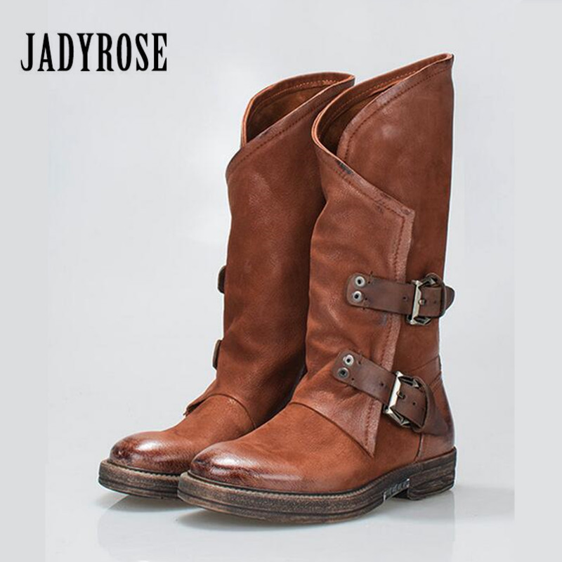 Jady Rose Brown Women Mid-Calf Boots Buckles Flat High Boots Genuine Leather Platform Botas Mujer Rubber Martin Boot Shoes Woman