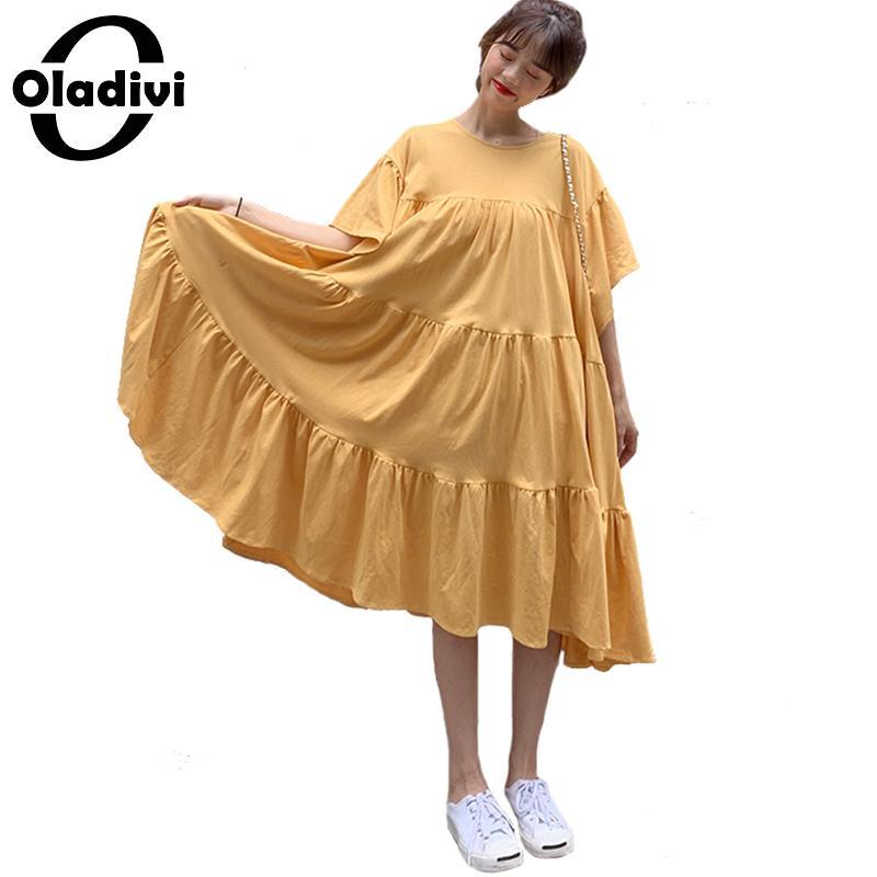 Oladivi grande taille femmes vêtements mode dames grand fond chemise robe décontracté lâche robes d'été femme Tee tunique Vestido