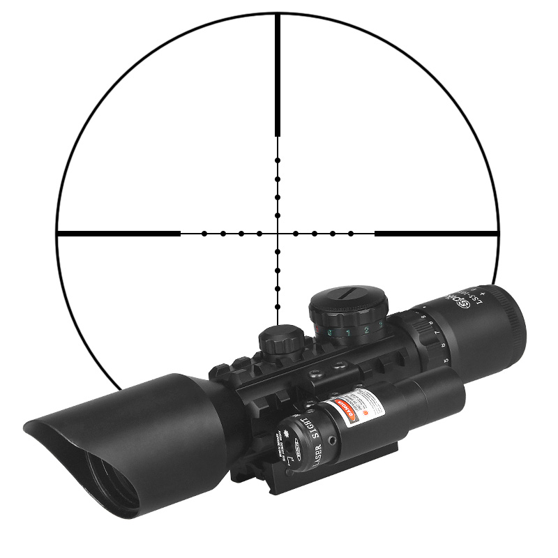 LS3-10X42E Tactical Rifle Scope Red Laser Dual Illuminated Mil-dot W/ Rail Mounts Weapon Sight Hunting Gz10310