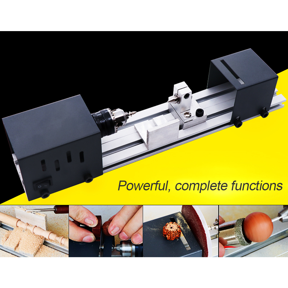 Mini Lathe Beads Polisher Machine Woodworking Craft DIY Rotary Tool Set Standard Version EU Plug