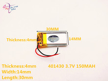 3.7V lithium polymer battery 401430 041430 150mAH Bluetooth cell batteries selling MP3MP4