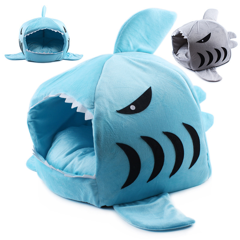 Dog Cat Soft Bed kennel puppy Doghouse Cartoon Shark Mouse Shape Washable Pet Sleeping B ...