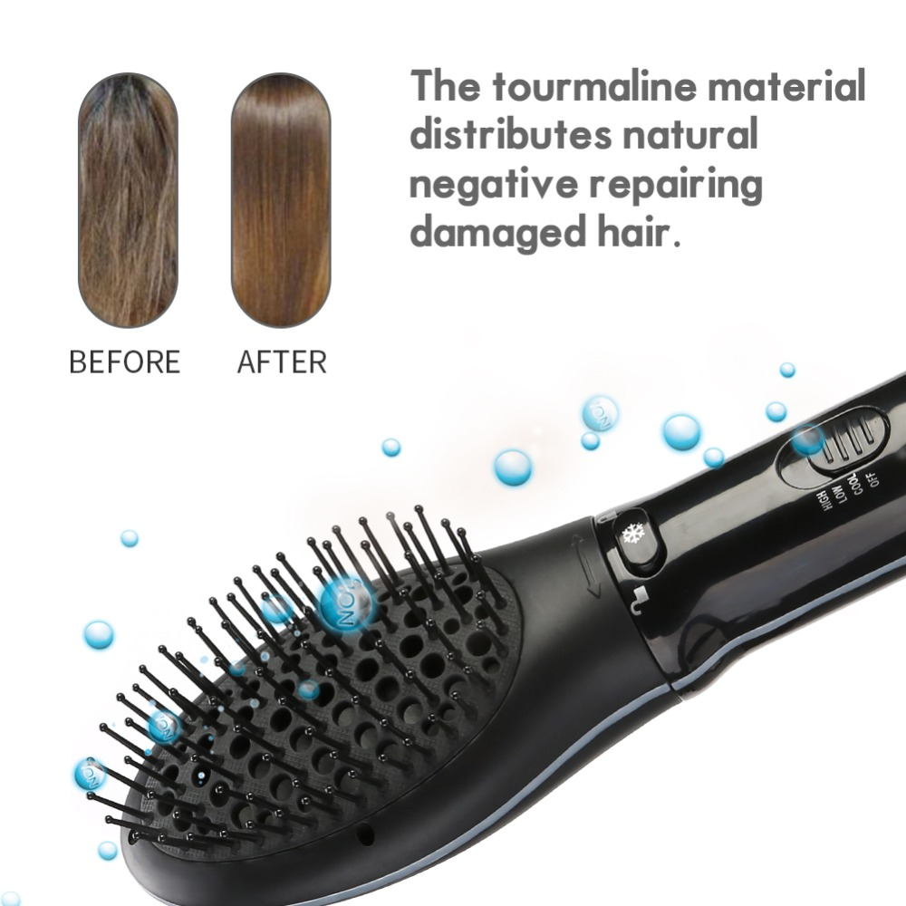 1000W Rotating Anti-static Oval Hair Brush Blow Comb Curling Straightening Massage Scalp Brush Hairstyling Salon Hair Dryer Tool цена