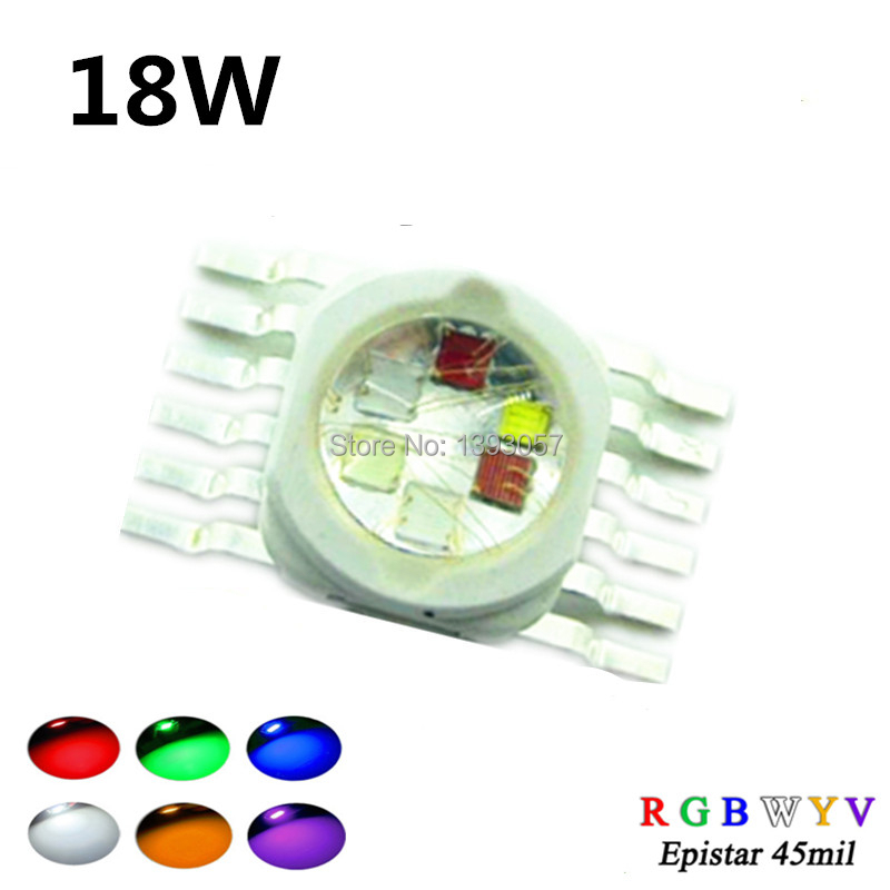 1pcs Supper Bright 18W RGBWYV Stage Light 45mil All Color 12 pin For 18 Watt Red Green Blue White Ye
