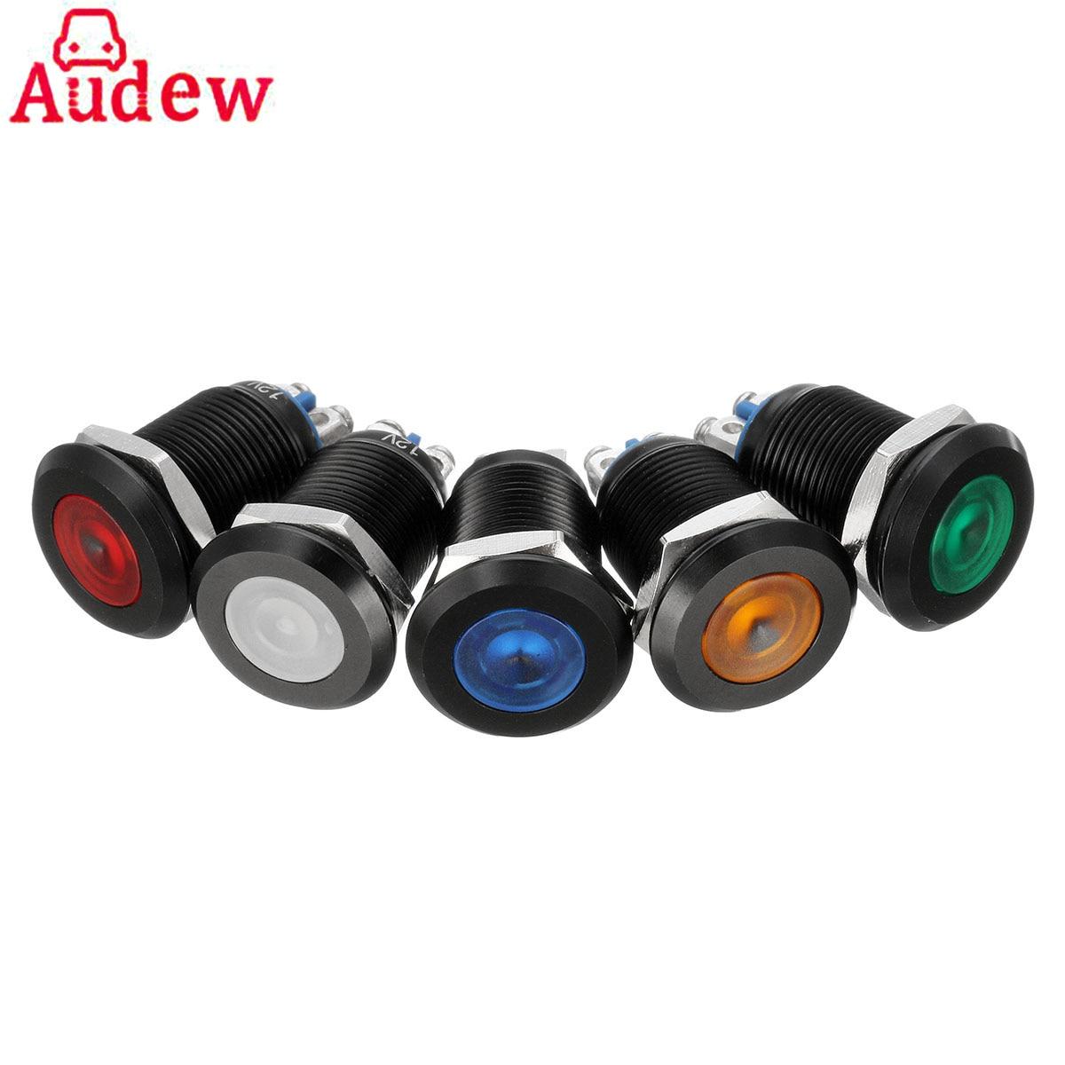 12mm 12V Car LED Metal Indicator Pilot Dash Light Lamp & Screw Terminal Black Casing