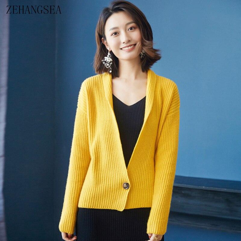 Демисезонный высококачественный Женский кардиган, вязаный жакет из чистого кашемира, повседневный Модный женский красивый свитер, кардига