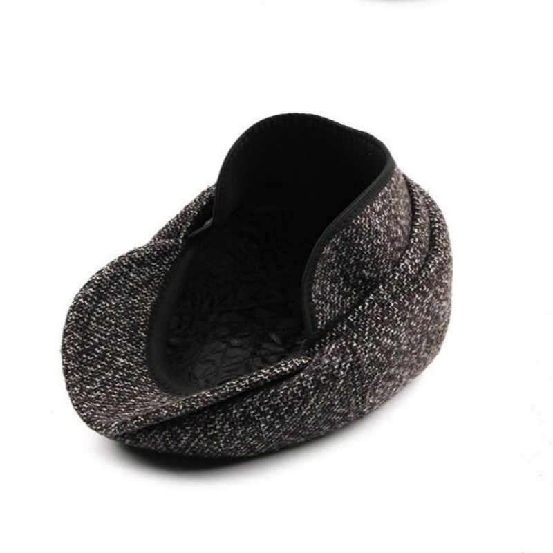 ... old men winter flat cap outdoor thick warm male earflap beret casual  newsboy style ear flap ... 6ea05b0e8d1b