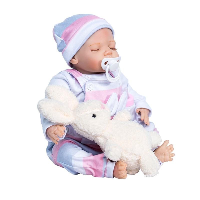 Lifelike Silicone Reborn Baby Menina Kids Playmates Bedtime House Toy 18 Inch Dolls Bebe Reborn Menino