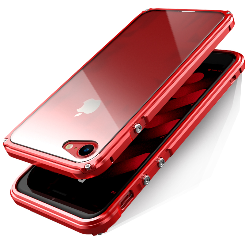 BOBYT for iPhone 7 8 Plus Bumper Frame with Back Protective Panel Design Hybrid Casing Fundas Cape Red for iPhone7 8plus