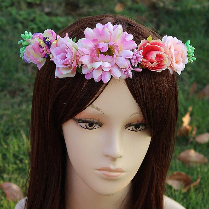 Beach Vacation Women Floral Headband Hair Band Wedding Wreath Flower Garland
