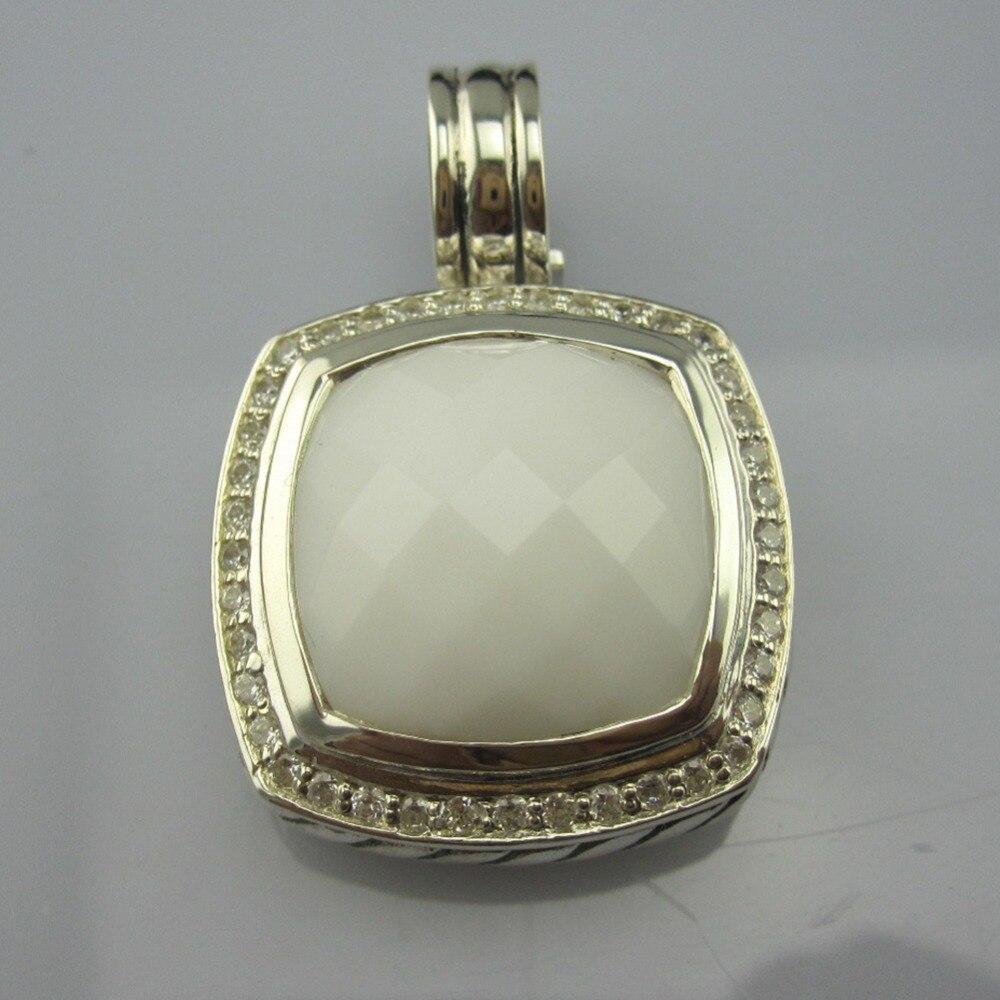 Bijoux en argent Sterling massif rehausseur 17mm avec Agate blanche et bijoux Design CZ pendentif améthyste Prasiolite pour femmes