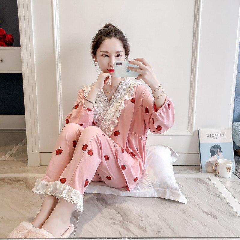 Unterwäsche & Schlafanzug Ausdrucksvoll Prinzessin Süße Lolita Pyjamas Sommer Und Herbst Erdbeere Pyjamas Frauen Baumwolle Kimono Gericht Spitze Nette Pyjamas Mhh Nk095 Chinesische Aromen Besitzen Damen-nachtwäsche