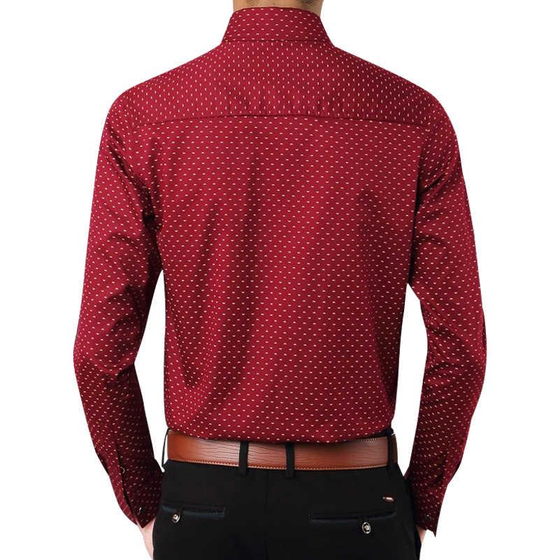 男性シャツ2017ファッションブランド春通気性長袖シャツ社会パッチワークポルカドット男性プリントシュミーズオムx386