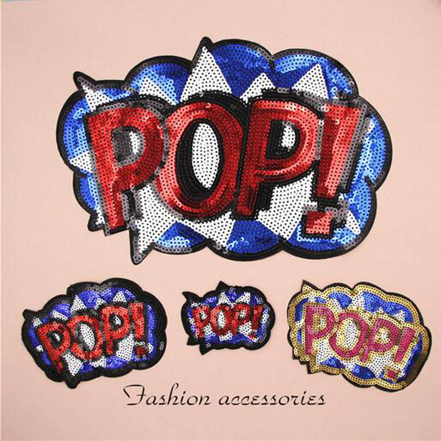 Paillette Sequins Embroidered POP Letter Patch Clothes Stickers Bag Sew Iron On Applique DIY Apparel Sewing Clothing DIY BU89 in Patches from Home Garden