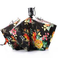 2016 Famous Brand New Umbrella with Flowers Printed10 Spokes Automatic 3 Fold Women Sun Uv Protection Cheap For Sale Parasol