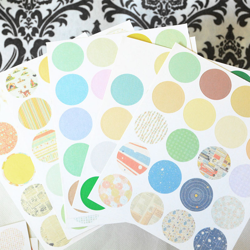 160 Pcs/lot DIY Cute Kawaii Round Paper Sticker Dot Grid Stripe Stickers For Home Decoration Photo Album Student 3428
