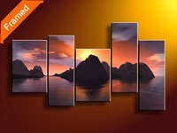 Chinese Oil Painting Mountain Landscape Oil Painting For Bedroom High Quality 5 Piece Canvas Art For