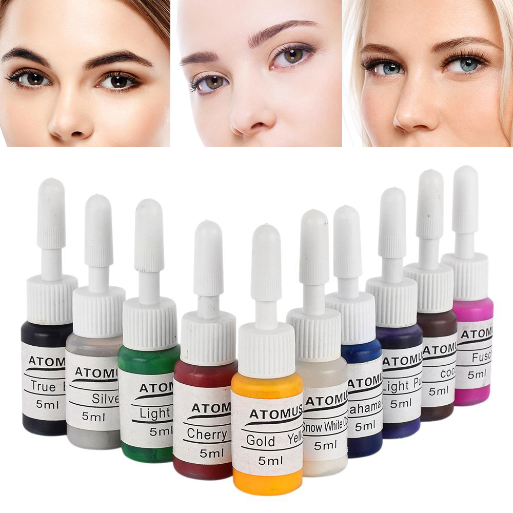 ATOMUS 10pcs Permanent Eyebrow Eyeliner Makeup Micro Tattoo Color Ink Pigments Microblading Tattoo Tint Body Art Pigment TSLM2