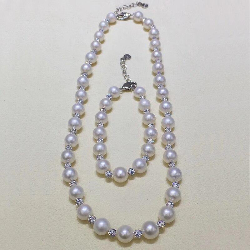 Sinya Süßwasser perlen strang halskette armband edlen schmuck set mit swalovski kristall mode design für frauen mutter mädchen-in Schmucksets aus Schmuck und Accessoires bei  Gruppe 2