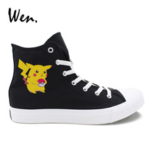 Wen Canvas Sneakers Women Black Design Pokemon Pikachu Anime Cartoon White Round Toes Casual Espadrilles High Tops Men Big Size