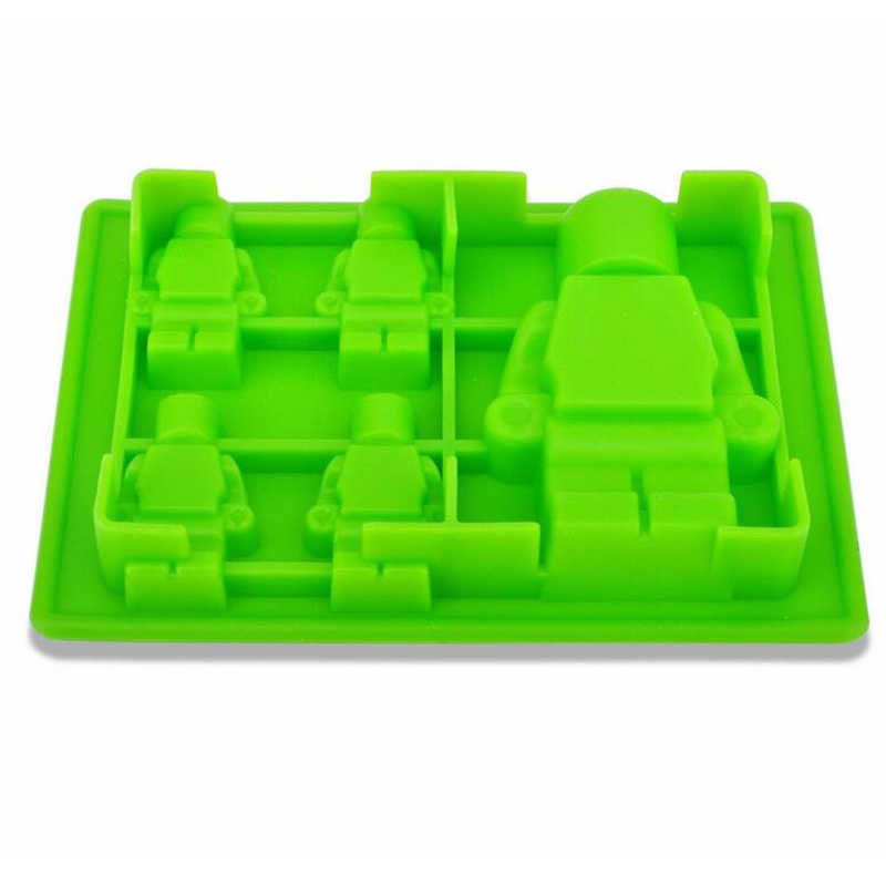 1PC 5 Holes Robot Shape Ice Mold Silicone Ice Cube Tray Mold Maker Ice Cream Mold Maker Lego Baking Decorating Tools