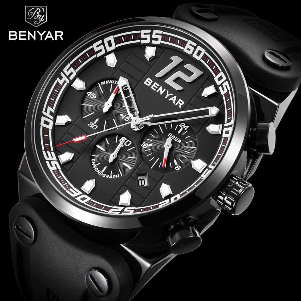 BENYAR Top Brand Luxury Sport Men Watch Chronograph Quartz Wristwatch Silicone band Army Military Watches Clock Relojes Hombre starry sky space watch little star silicone watches kids sport quartz watch luxury brand hot boys girls watches relojes mujer