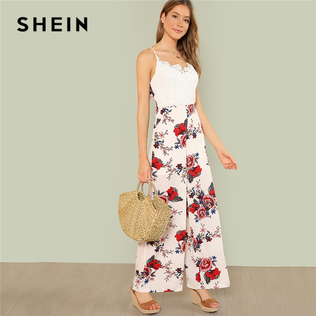 5f4161c06e SHEIN Multicolor Vacation Boho Bohemian Beach Lace Bodice Floral Print Cami  Maxi Wide Leg Jumpsuit Summer Women Casual Jumpsuit