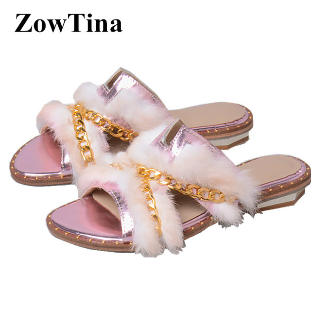 971ab10dab801a Women Rabbit Fur Slippers Gold Chains Flats Summer Slide Shoes Real Leather  Beach Flip Flop Ladies Shoes Woman Zapatillas Mujer