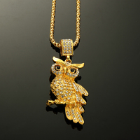 Fashion Hip Hop Pokemon Jewelry Halloween Gifts Necklaces OWL Lindy 18K Gold Plated Bling Pepper Pendants