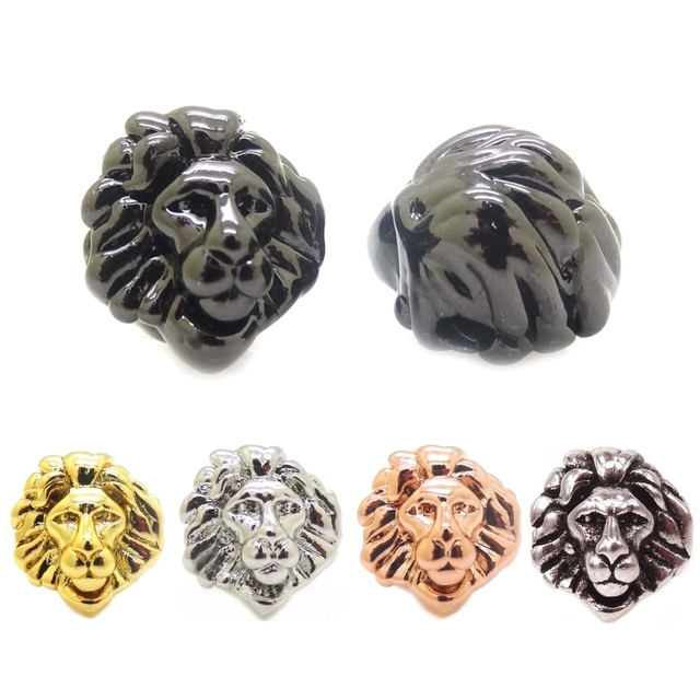 3D DIY Lion Head BeadsSilver Black Gun Rose Gold Gold Color Lion