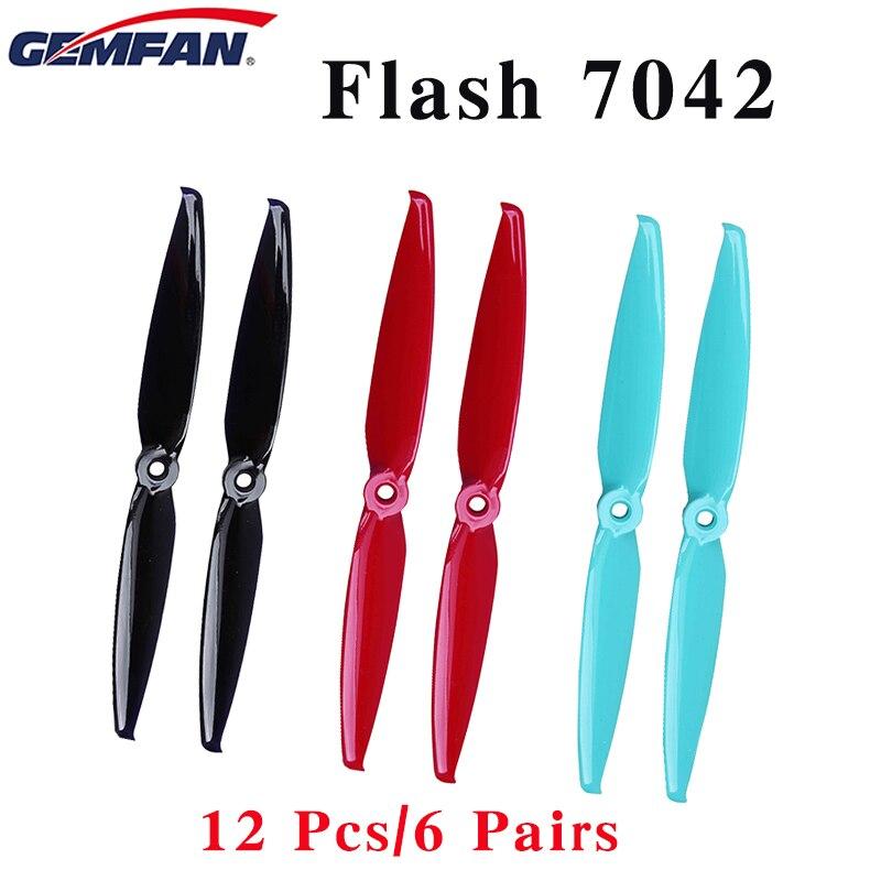 12 piezas/6 pares Gemfan Flash 7042x7,0x4,2 PC 2-Pala de la hélice 5mm agujero de montaje. hélice FPV para Dron FPV RC