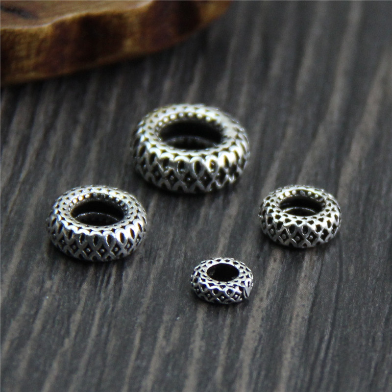 Real 925 Sterling Silver Retro Separate Spacer Beads For DIY Bracelet Necklace Loose Beads Fine Jewelry Acessories Findings