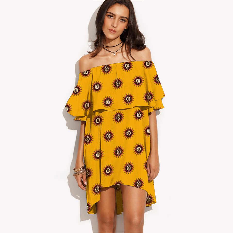 Летнее женское платье 2019 винтажное сексуальное богемное цветочное пляжное платье с открытыми плечами сарафан повседневные праздничные платья с фруктовым принтом