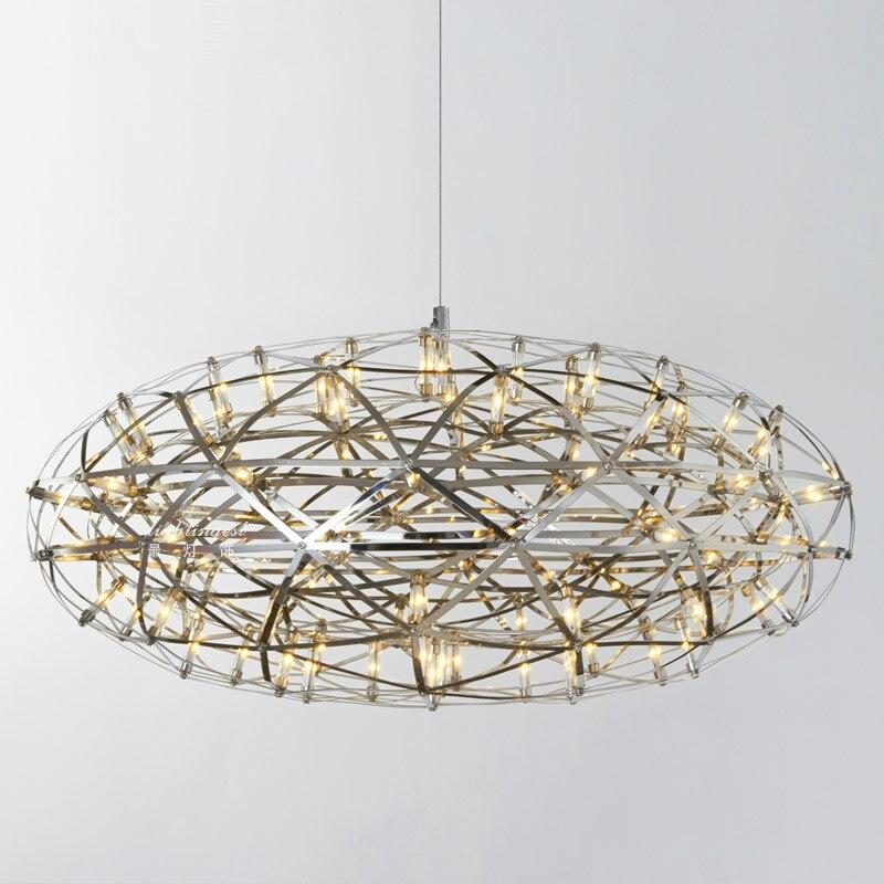 Post modern aço inoxidável faísca bola oval LED lustres luminária criativa norbic casa deco sala lustres quarto