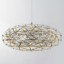 купить Post modern stainless steel spark oval ball LED pendant light fixture norbic home deco living room creative ceiling pendant по цене 8776.82 рублей