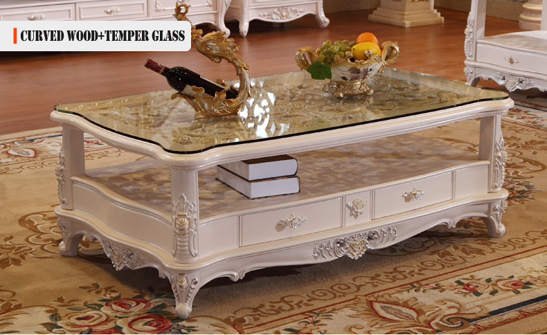 center table curved wood temper glass